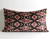Best quality lumbar silk velvet ikat pillow cover, handwoven hand dyed, ikat bedding pink brown cream