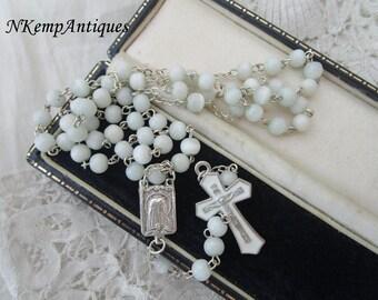 Glass rosary enamel crucifix