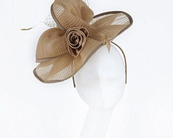 Janeo BEATRIX Fascinator, Wide Brimmed Contoured in Swirls on a large Circular Brim, Janeo Jewels, Four Beautiful Colours - Champagne