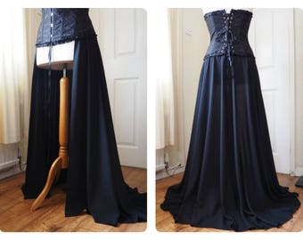 Two Way Long Black Trailing Overskirt / High Slit Skirt Cosplay Victorian Steampunk Goth Burlesque Stage Glamour Romance Train Trail