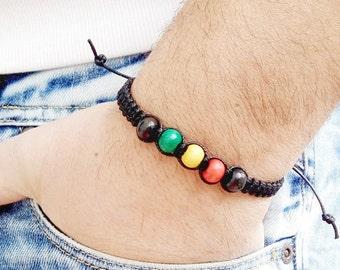 Mens Bracelet RASTA SHAMBALLA BRACELET Bob Marley Wood Beads Bracelet Beaded Ganja Shamballa Bracelet Shambala Bracelet Mens Cannabis