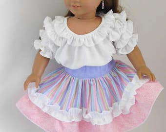 Candy Ruffled Party Skirt for 14-18 inch Girl Dolls, American Made western square dance outfit, frilly cowgirl attire, Mexican Fiesta skirt
