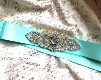 Turquoise bridal sash, Aqua Wedding Sash, Something Blue Sash, Mint Blue Sash, Aqua bridal Sash, Sash Blue, Aqua Bridal Belt, Aqua Sash