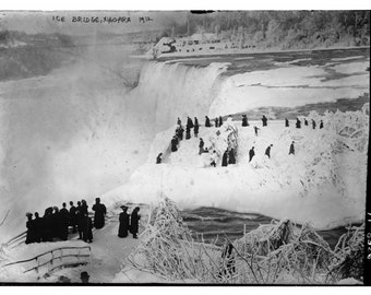 Frozen Niagara Falls, Canada, New York, Ice Bridge, 1912