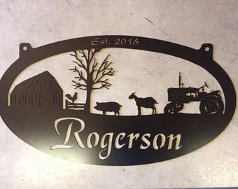Personalized Metal Sign with  barn , pig , goat scene