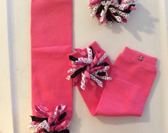Hot Pink Leg Warmers with matching Korker Bow