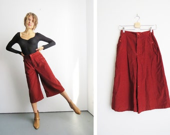 Corduroy Rust Culottes // Small 1970's High Waist Gaucho Pants // Women's Vintage Pants