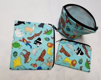 Reusable Sandwich Bags,Snack Bags,Animals Around the World,Small Toy Bags,Washable,Nylon Liner,School Lunch Baggies,Food Baggies.