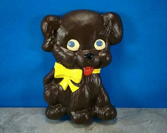 Vintage Chalkware Brown Cute Puppy Dog Wall Hung Art Piece with Yellow Bow