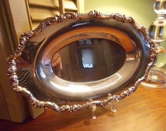VINTAGE SILVER TRAY, Silver Plate Oval Serving Tray