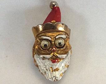 Vintage Santa Brooch with Moving Eyes