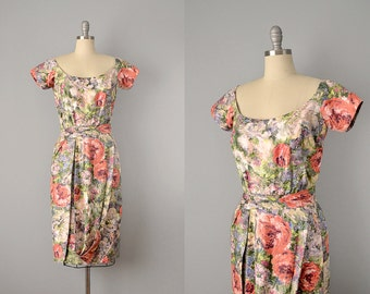 50s Dress // 1950's Ceil Chapman Painterly Floral Print Dress // Small