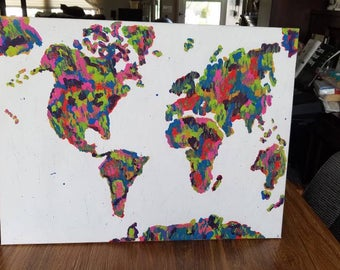 Colorful World Map acrylic canvas painting art world map art colorful map