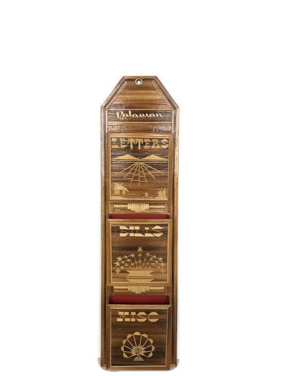Bamboo letter holder vintage Palawan souvenir bill tray wooden wall decor