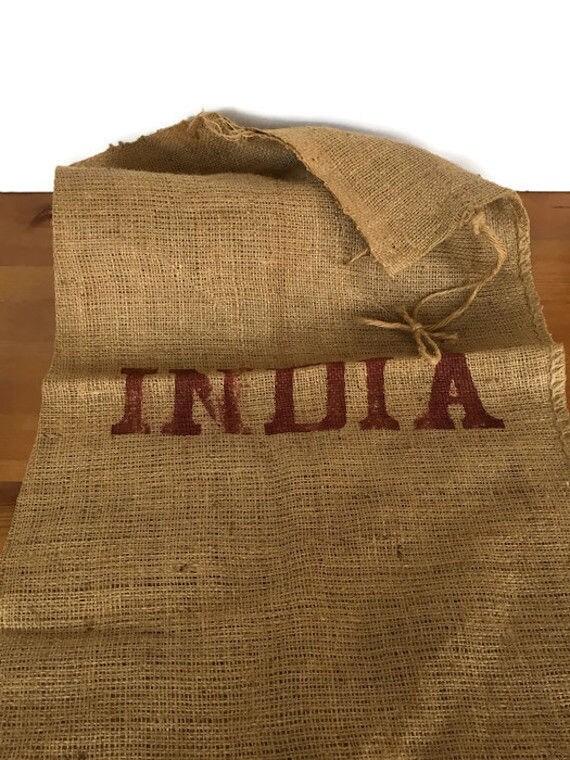 Rustic burlap sack India woven jute bag repurpose reuse material