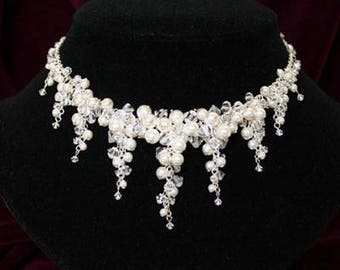 Crystal and Pearl Cluster Bridal Necklace BS-217 - Swarovski Crystal & Sterling Silver