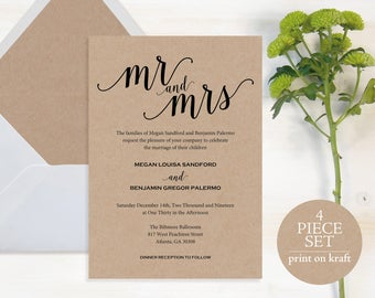 Mr and Mrs Wedding Invitation, Wedding Invitation Template, Wedding Invite Printable, Rustic, Kraft Invite, Instant Download, MM01-2