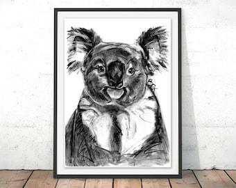 Koala Art Print, Koala Framed Wall Art, Koala Illustration, Koala Print, Koala Gift for New Home, Koala Wall Hanging Art Decor