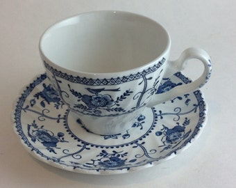 Beautiful Johnson Brothers Indies Teacup and Saucer Made in England Genuine Hand Engraving Blue Flowers and Birds Ironstone