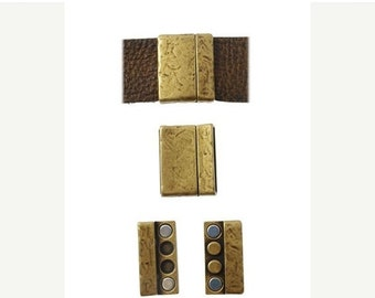 On Sale NOW 25%OFF Distressed Strong Magnetic Clasp For 30mm (30x3mm) Flat Leather Cord - Antique Brass - C1646 Qty 1