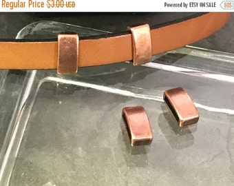 On Sale NOW 25%OFF Bar Sliders For 5-10mm Flat Leather Cord - Antique Copper - Z3624 Qty 4