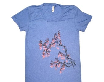 Cherry Blossom T-Shirt-Womens American Apparel Scoop Neck Tee-This Style runs small-illustration artwork nature plants beautiful cool tree