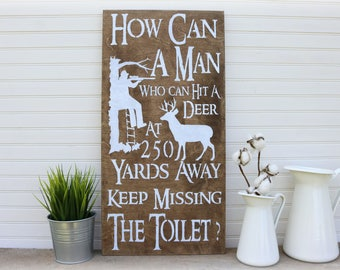 Rustic Bathroom  Wall Decor, Hunting Gifts, Cabin Decor, Father's Day Gift
