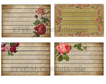 8 Floral vintage lined journal cards INSTANT DOWNLOAD