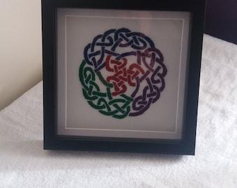 Celtic knot embroidered artwork, celtic embroidery, embroidery artwork, celtic art