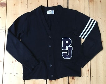 vintage 70s 80s navy and white varsity letterman pj pope john 23 cardigan sweater large