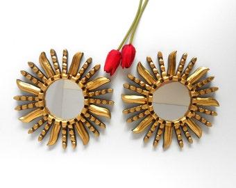 """8""""H, Wall Mirrors, Sunburst Mirrors, Round Mirrors, Decorative Wall Mirrors,  Small Wall Wall Mirrors,  Decorative Mirrors, Gold Mirrors"""