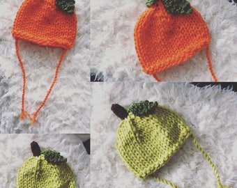 Newborn size knit green apple/lime or pumpkin beanie hat, photo prop, gift, coming home,chunky knit, ready to ship