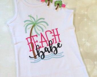 Beach Babe Tank - Girls Tank Top - Girls Summer Tank - Beach Tank - Embroidered Tank Top - Sleeveless Baby bodysuit - Palm Tree Shirt