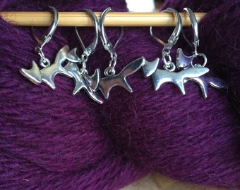 5 Handmade fox crochet or knitting stitch markers