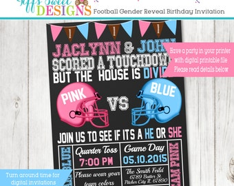 Football  Gender Reveal Party Invitation  - Pink and Blue - Boy or Girl - Sports Printable - Chalkboard - Invite