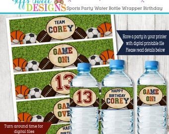 All Star Sports Birthday Party -   Water Bottle Wrapper - Sports Water Bottle Label - Printable - Basketball - Football - Baseball - Soccer