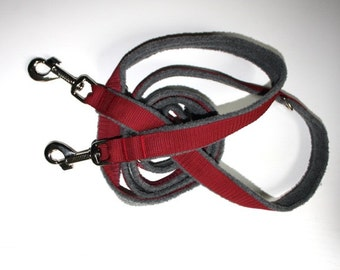 Dog leash Adjustable padded with fleece grey bordeaux