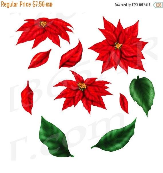 50% OFF Poinsettia Clip art Clipart, Red Poinsettia, DIY ...