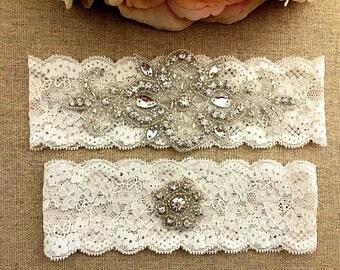 Wedding Garter - Bridal Garter - Crystal Rhinestone Garter and Toss Garter Set on Ivory Lace