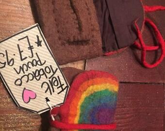 Handmade Fair Trade Felt Tobacco Pouch Rainbow - Brown