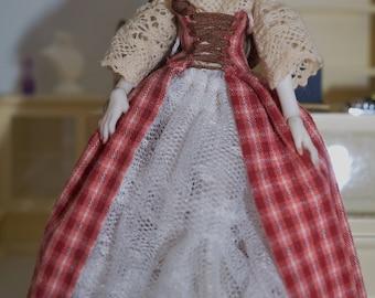 Artisaan miniature peasant dress for ellidolls porcelain bjd 1 inch scale