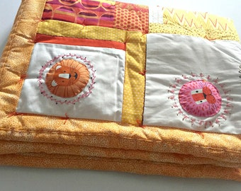 Hand Made Baby Quilt, Bright Animal Baby Quilt, Blanket Floor Pad, Zoo Animals, lions, Jungle Theme, Yellow, Orange, Pink