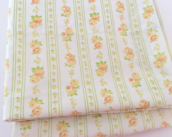 Vintage Pillow Cases, Queen Size, Country Flowers Bedding, Stripes Pink, Yellow, Flowers, Cottage Chic Bedding