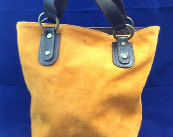 FREE Domestic Shipping! Vintage Maurizio Taiuti  Satchel/Tote/ Purse  - Made in Italy  - Fun Orange Suede Leather