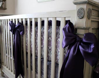 MarBella Valencia Minky Crib Bedding, Bumpers, Rail Guards, Crib Skirts, Nursery, Toddler Bedding, Crib Sheets, Purple and Gray, Satin