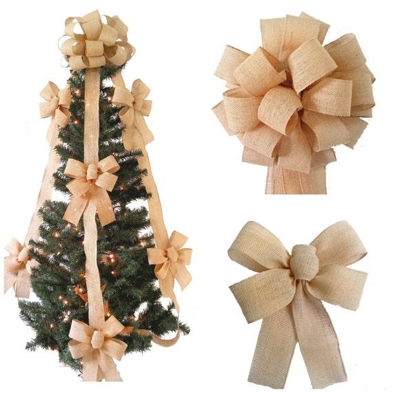 Burlap tree topper bow set tree decor burlap christmas for Burlap christmas curtains
