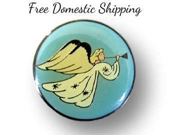 Angel Brooch, Christmas Angel, Religious Pin, Angel Tack Pin, Angel Lapel Pin, Angel Blowing Horn, Christmas Gift, Free US Shipping