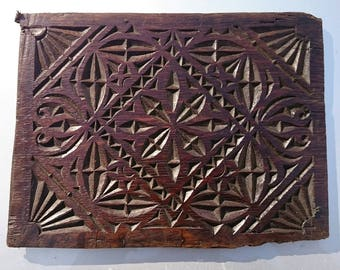 A antique hand carved oak panel