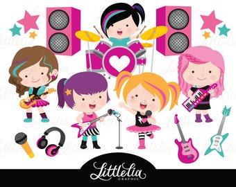 Rock star girls clipart - music clipart - 16098