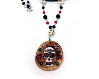 Dia des los Muertos Necklace - Day of the dead sugar skull baron samedi mexican festival pagan ancestors
